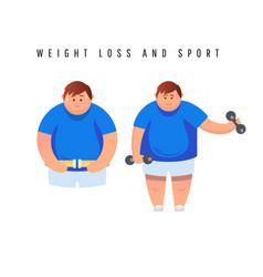 Fat man character running fast on treadmill flat vector