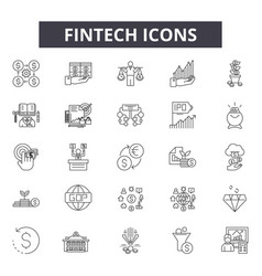 Fintech line icons signs set outline vector