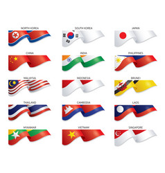 flags east asia and south east asia country vector image
