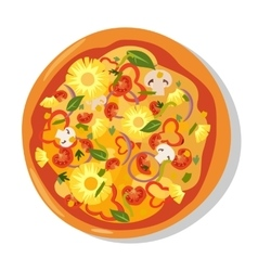 Flat hot pizza icons Pizza isolated on white vector image