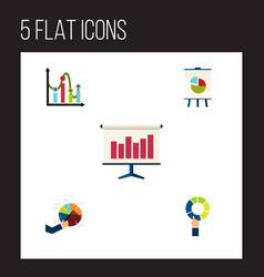 flat icon chart set of graph segment easel and vector image