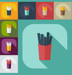 Flat modern design with shadow icons french fries vector