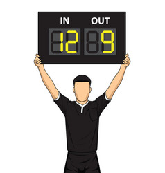 Football referee shows the number display vector