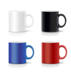 four mugs various colors coffee cups vector image