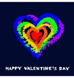 Gay Valentine Card Rainbow Heart vector image