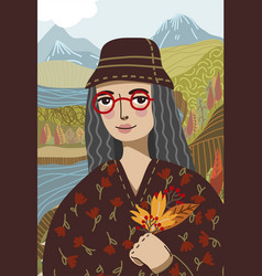 Gioconda in a modern graphic style wearing red vector