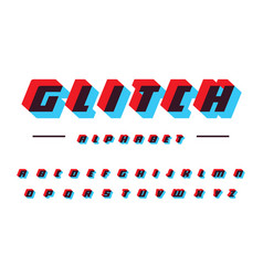 glitch latin alphabet speed moving bold vector image