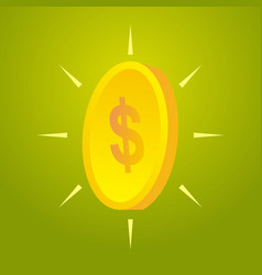 Gold coin with dollar sign vector