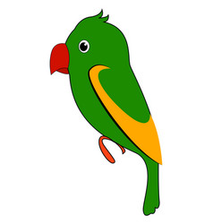 green tropical parrot on white background vector image