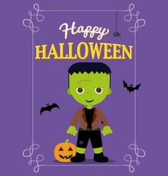 halloween poster frankestein costume vector image