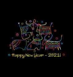 happy new year card 2021 funny bulls family vector image