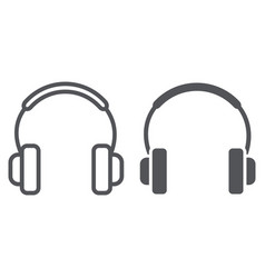headphones line and glyph icon music and sound vector image
