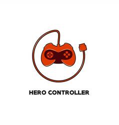 hero controller game logo vector image