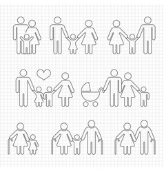 Human family line icons on notebook page design vector