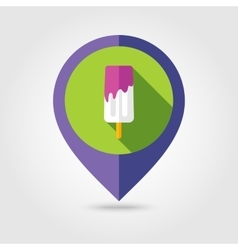 Ice Cream flat mapping pin icon with long shadow vector image