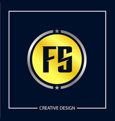 initial letter fs logo template design vector image