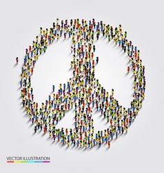 Large group of people gathered together in peace vector