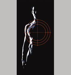 Man at gunpoint on a black background vector