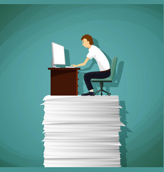 Man sitting at the workplace on a pile of paper vector