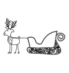 monochrome contour of caricature reindeer with vector image