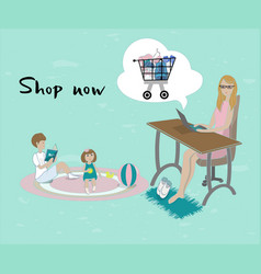mother buying in the internet shop vector image