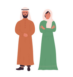Muslim family or couple people arabian young vector