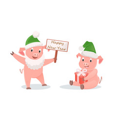 new year pigs with gift box and greeting signboard vector image
