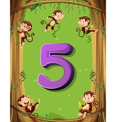 Number five with 5 monkeys on tree vector
