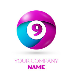 Number nine symbol in the colorful circle vector