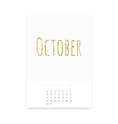October 2017 Calendar Page vector