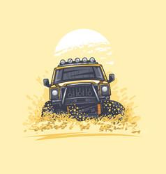 Off-road car in desert hills has raised dust vector