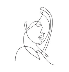 One single line drawing woman beauty abstract vector