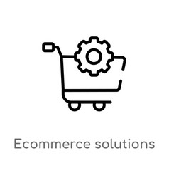 Outline ecommerce solutions icon isolated black vector