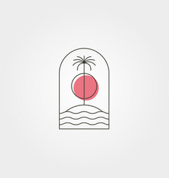 palm tree island line logo symbol with sunset vector image