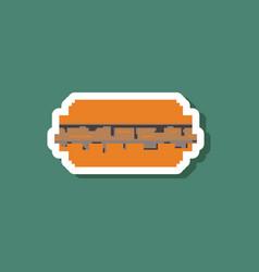 paper sticker on stylish background burger vector image