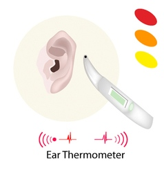 Patient with Ear Thermometer on White Background vector