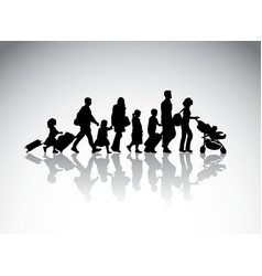 People family travel silhouette symbol vector