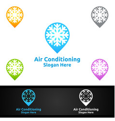 Pin snow air conditioning and heating services vector