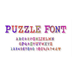 puzzle font jigsaw puzzle alphabet and numbers vector image