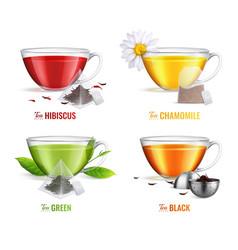 realistic tea brewing bag icon set vector image