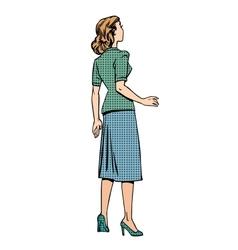 Retro woman looks back vector
