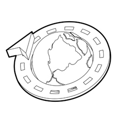 Road around earth globe icon outline style vector