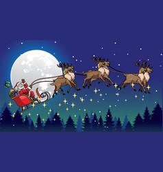 Santa ride sleigh pulled his reindeers vector