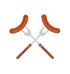 sausage on barbecue fork grilled sausage vector image