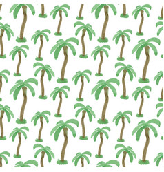 Seamless pattern with watercolor palm trees vector