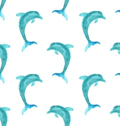 Seamless watercolour dolphin pattern vector image