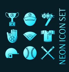 set baseball glowing neon style icons vector image