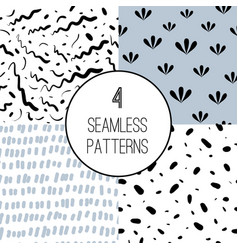Set four abstract seamless patterns vector
