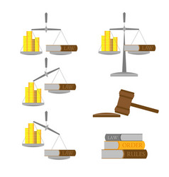 Set of balance with money gold coins and lawbook vector