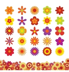 Set of Flowers Isolated on White Background vector image
